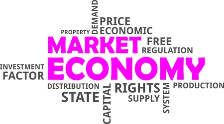 A word cloud of market economy related items 版權商用圖片 - 99637085