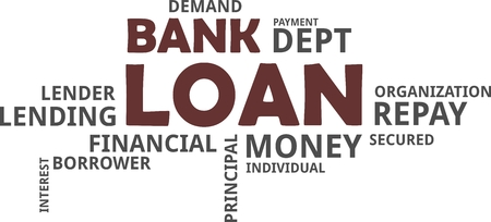 A word cloud of bank loan related items Vectores