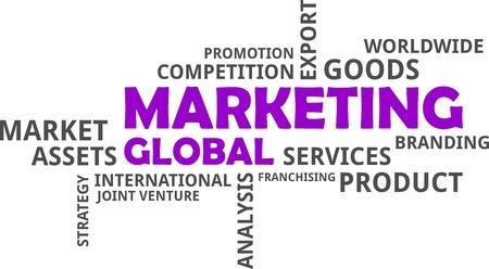 Word cloud of global marketing concept Illustration