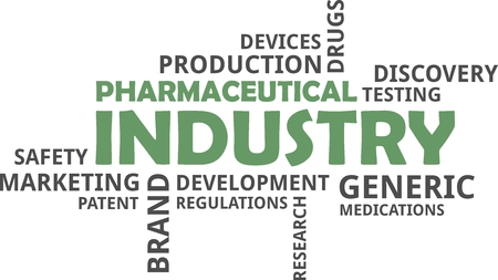 A word cloud of pharmaceutical industry related items.