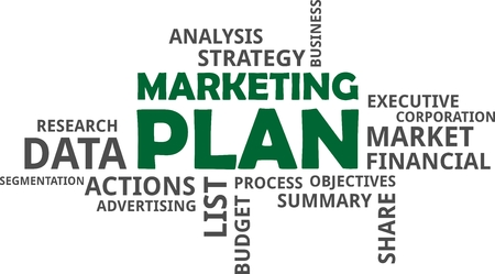 A word cloud of marketing plan related items Vectores