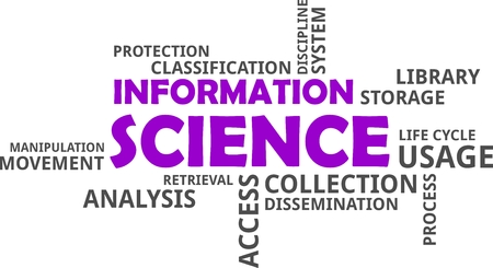 A word cloud of information science related items Ilustrace