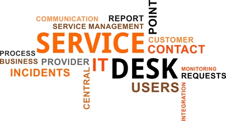 A word cloud of service desk related items Stock Illustratie