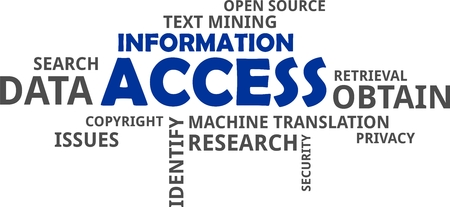 A word cloud of information access related items Foto de archivo - 105300748