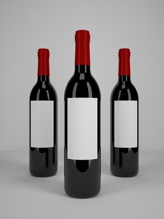 wine label design: Three wine bottles mock-up Stock Photo