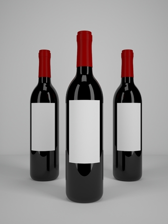 bouteille de vin: Trois bouteilles de vin mock-up