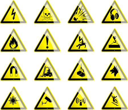 symbol yellow: Triangular Hazard Symbols Illustration