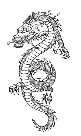 dragon chinois: Dessin de dragon Illustration