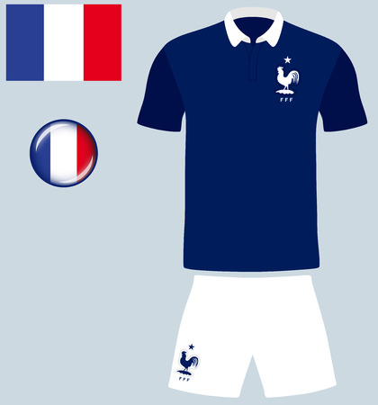 football jersey: France Football Jersey. Vector graphic image representing the national football jersey of France. Illustration
