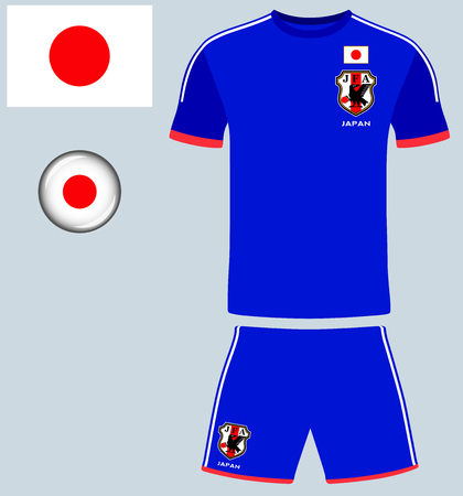 blank template: Japan Football Jersey. Vector graphic image representing the national football jersey of Japan.