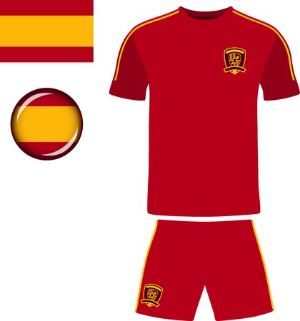football jersey: Spain Football Jersey. Vector graphic illustration representing the national football jersey of Spain. Illustration