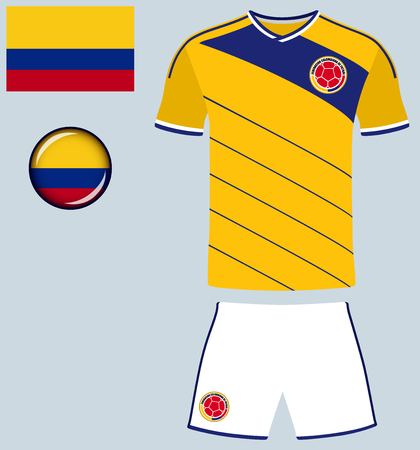 Colombia Football Jersey. Vector graphic illustration representing the national football jersey of Colombia.