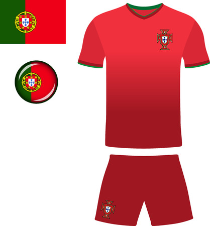 football jersey: Portugal Football Jersey. Vector graphic illustration representing the national football jersey of Portugal.
