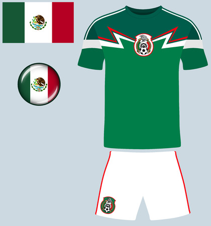 mexico: Mexico Football Jersey. Vector graphic illustration representing the national football jersey of Mexico.