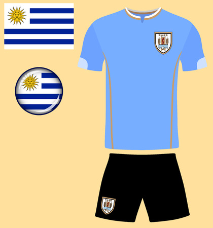 football jersey: Uruguay Football Jersey. Vector graphic illustration representing the national football jersey of Uruguay. Illustration