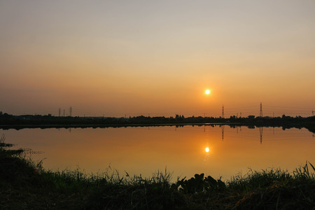 sunset at the waste water treatment sump