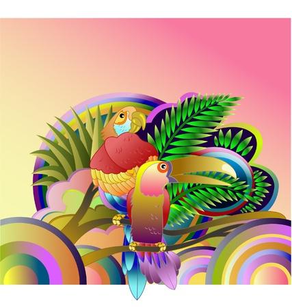 parrots are sitting on a branch. vector illustration Illusztráció