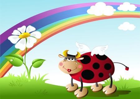 ochtend dauw: lieveheersbeestje met bloem op het gazon. vector illustratie