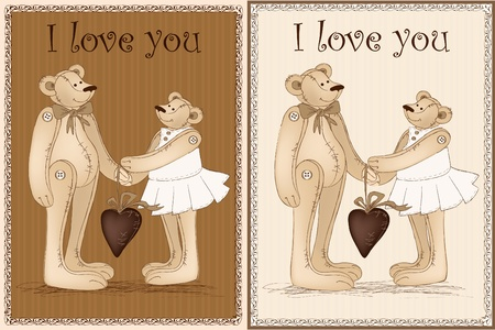 two bears in vintage style. vector illustration Vector