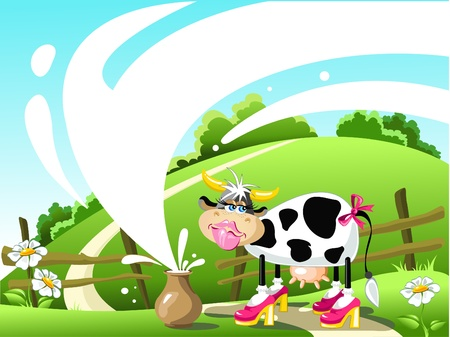 jugs: cow and a jug of milk in the summer on the lawn. vector illustration