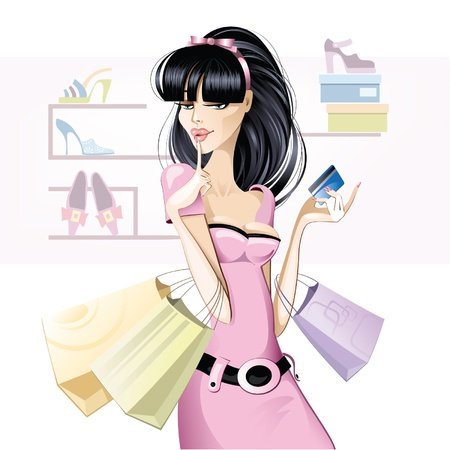 happy shopper: Brunette girl shopping  Illustration