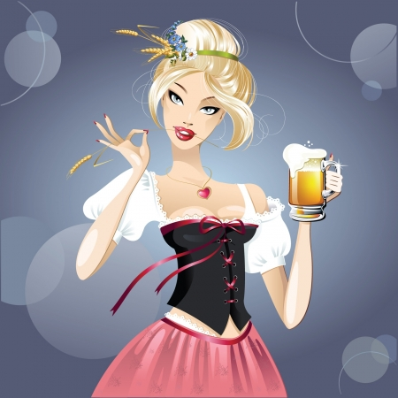 Sexy woman, blonde and beer  Vector