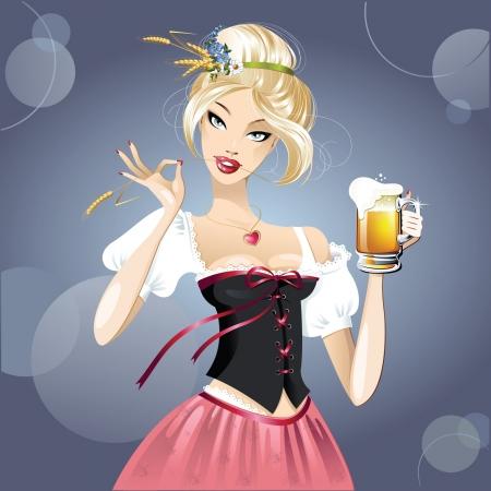Szexi nő, szőke és a sör