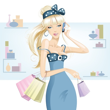 fashion boutique: Blonde girl shopping  Illustration