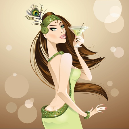 beautiful girl with a glass of whiskey and olives Illustration