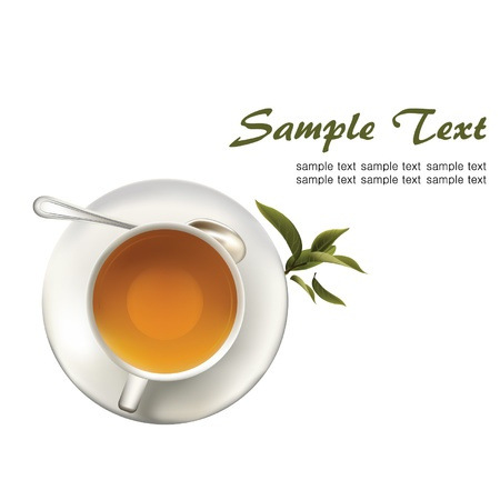 chinese tea cup: t� verde Vectores