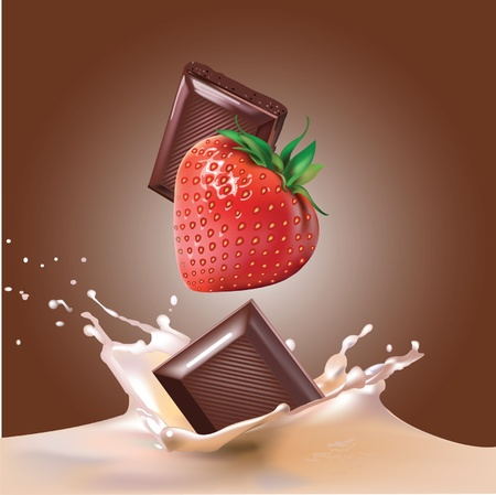 strawberries, milk, chocolate Vector