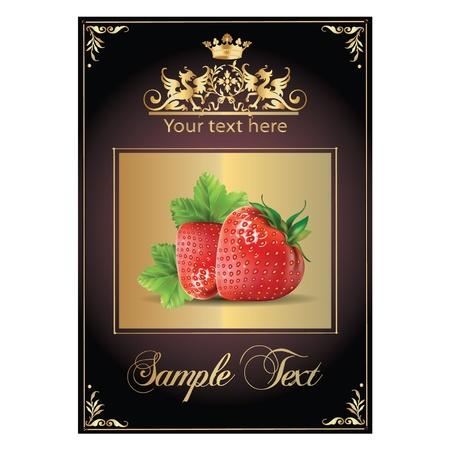 érett, finom eper. gyönyörű címke