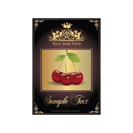 ripe, delicious cherries. beautiful label Vector