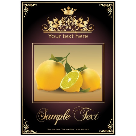ripe, tasty lemons. beautiful label Stock Vector - 11142464