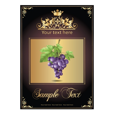 ripe, delicious grapes. beautiful label Illustration