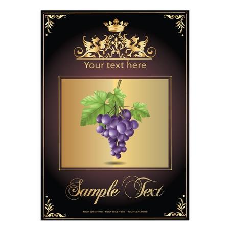 ripe, delicious grapes. beautiful label Illustration