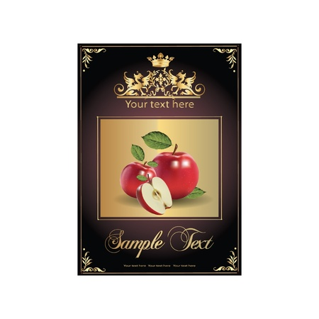 ripe, delicious apples. beautiful label Vector