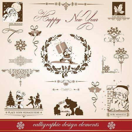 Karácsony és újév. vektor, állhatatos, kalligrafikus elemek. retro