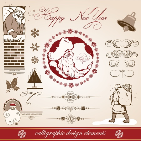 Christmas and New Year. vector set of calligraphic elements. retro Vector