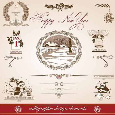 Christmas and New Year. vector set of calligraphic elements. retro