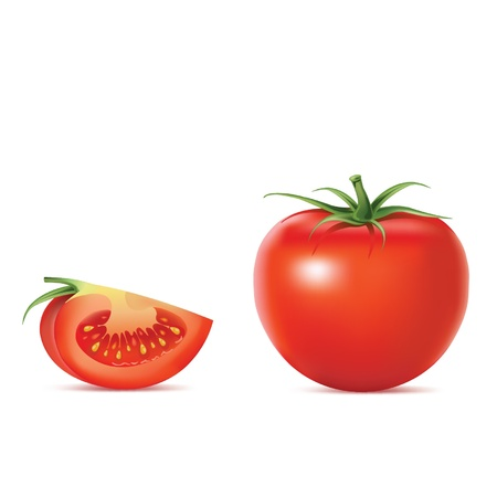 Beautiful realistic tomato  vector illustration Illustration