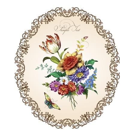 bouquet fleur: Carte postale de cru avec de belles fleurs
