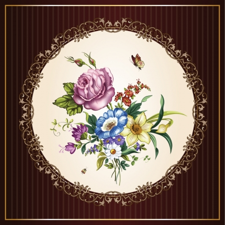 postal vintage: Postal de la vendimia con las flores hermosas