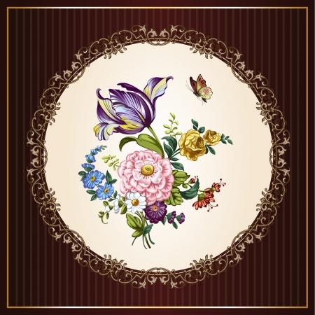 dibujo vintage: Postales de la vendimia con las flores hermosas