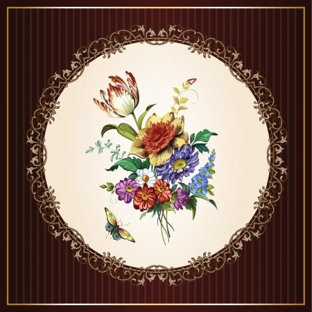 vintage flower: Vintage postcard with beautiful flowers Illustration