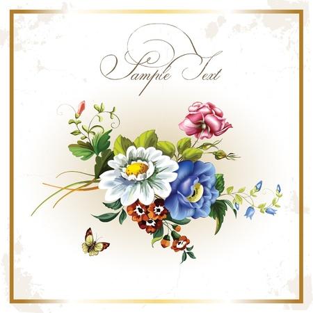 mazzo di fiori: Cartolina d'epoca con bellissimi fiori