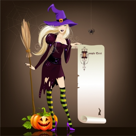 Halloween girl and pumpkin Vector