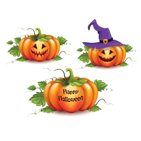 nature scenery: Halloween pumpkin set Illustration