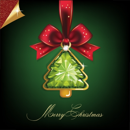 decorating christmas tree: Christmas and New Year  Tree, diamond, bow  Christmas background