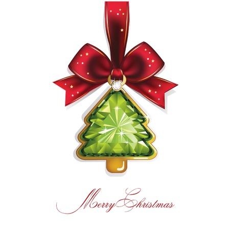 Arbre de Noël et de Nouvel An, le diamant, l'arc de Noël de fond Vecteurs